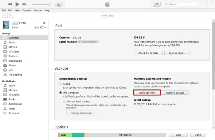 How to Transfer Data from One iPad to Another-click backup option