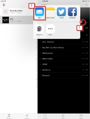 How to Transfer Files from iPad to PC -select share icon