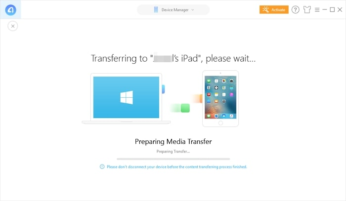 Transfer Videos to iPad- start transfer process