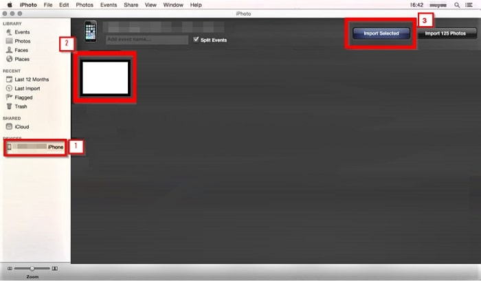 Transfer Video from iPhone to PC-click import selected option