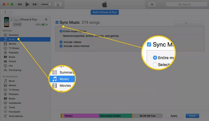 How to Move Songs from iTunes to iPhone- Tap on the music option