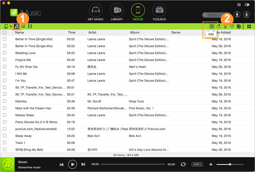 how to transfer songs from ipod to ipad-choose songs and click add button