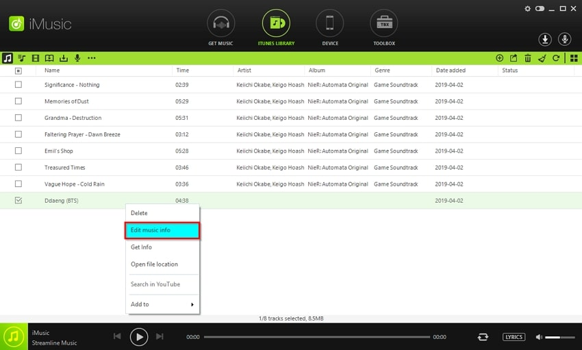 Add Metadata to MP3 Files using iMusic Manually