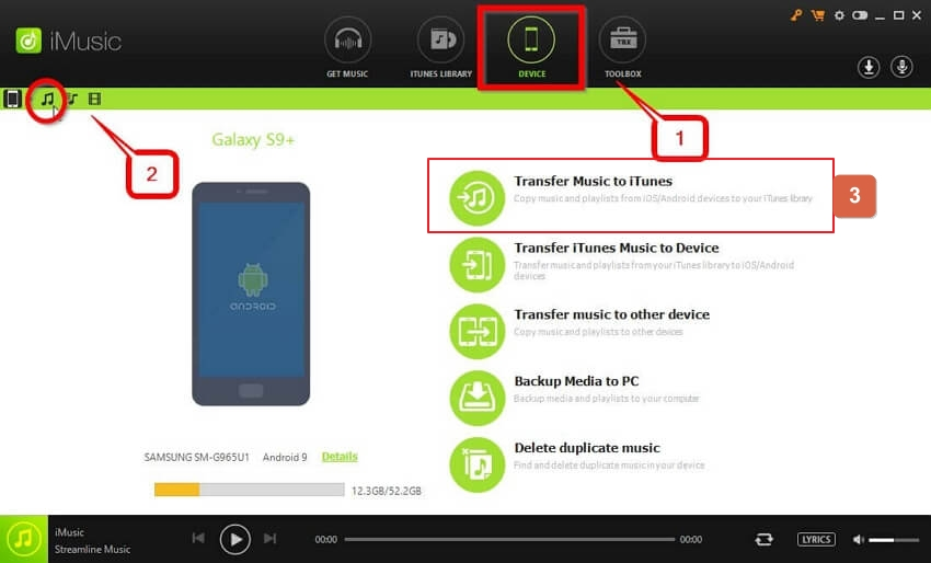 top android music manager-choose copy music from device to iTunes