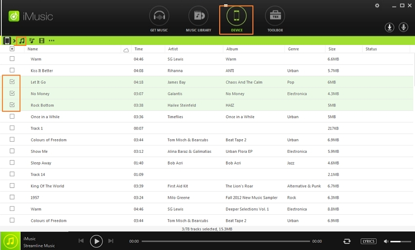 backup ipod music to computer or itunes-select your iPod songs