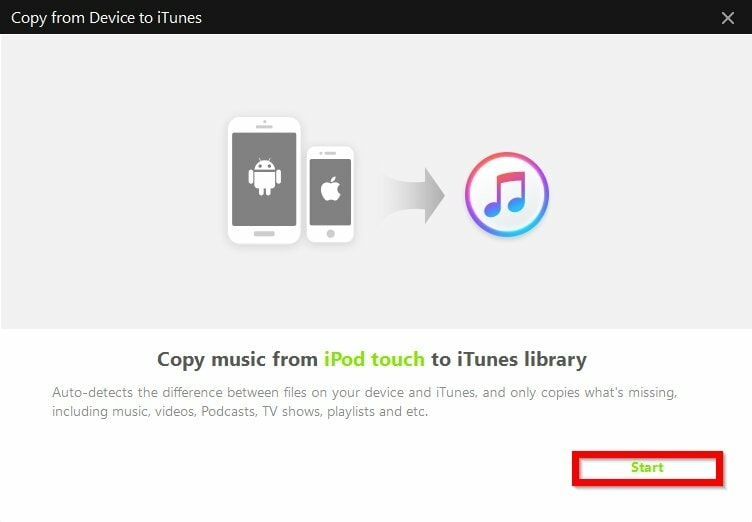 How to Sync Music to iTunes--press start button