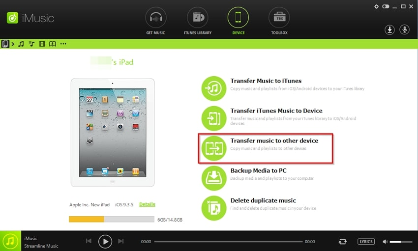 How to Transfer Data from One iPad to Another- go to device tab