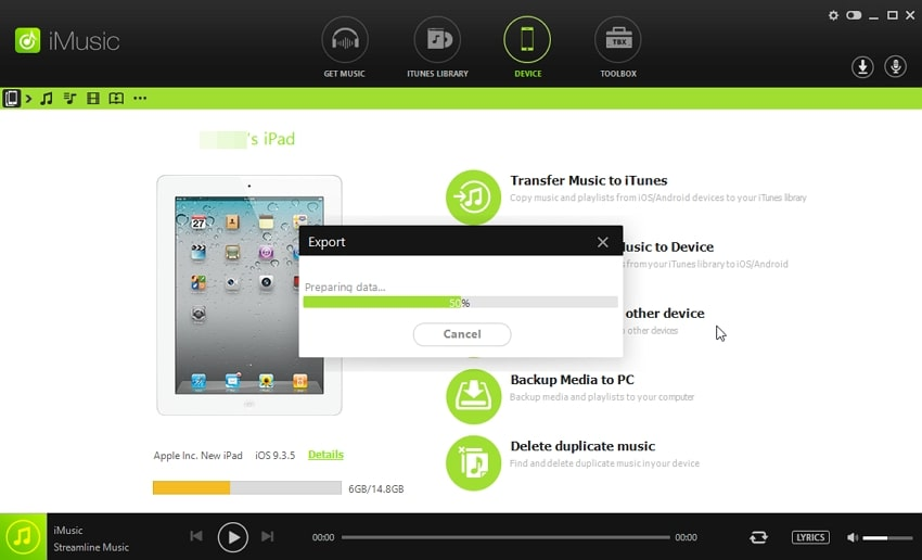 How to Transfer Data from One iPad to Another- begin to export
