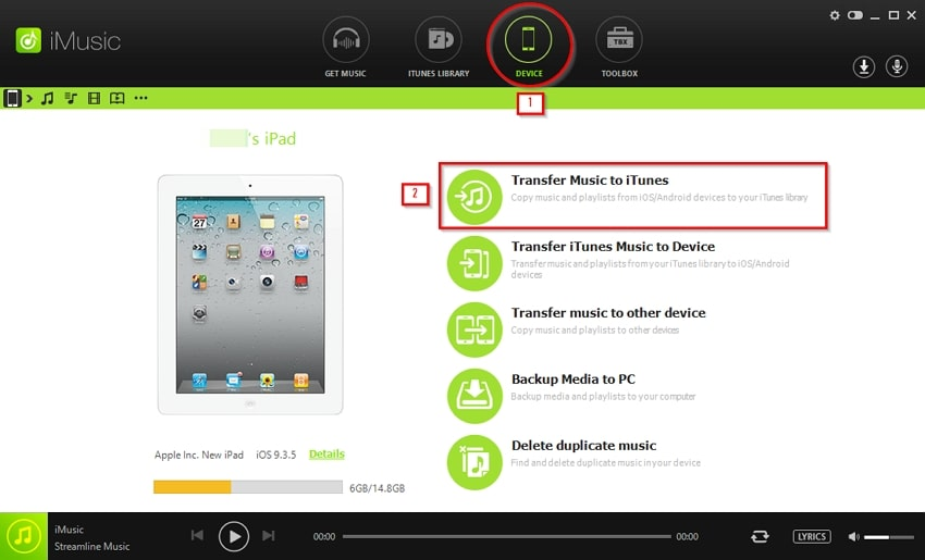 How to Transfer Files from iPad to PC - choose transfer music to itunes option