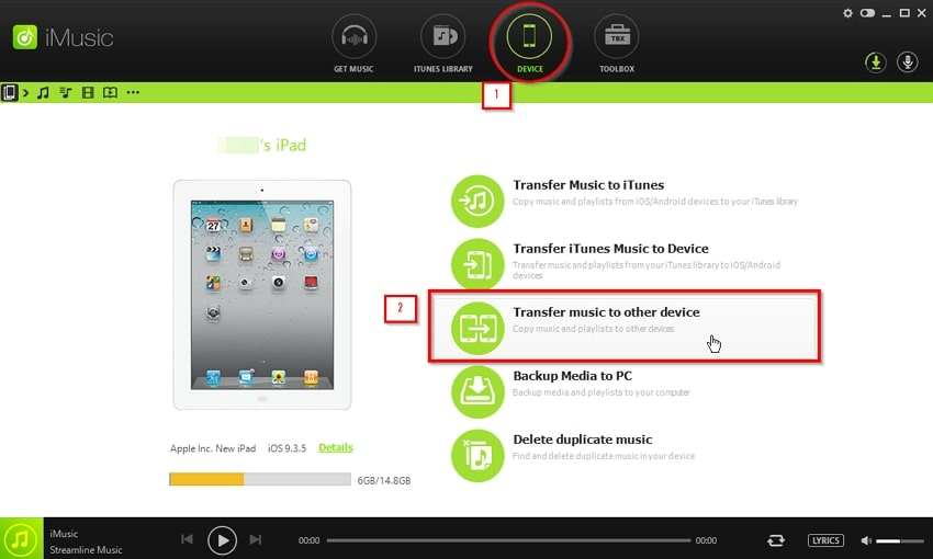 How to Transfer Music from iPad to iPod-select transfer music to other device option