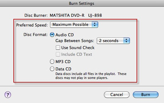 itunes burn cd