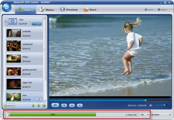 Import MPEG-2 video