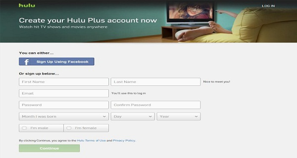 sign up hulu plus account
