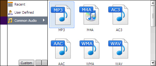 Choose WMA format