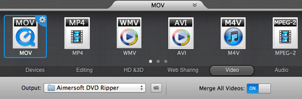 Rip DVD to DV on Mac – Set the output format