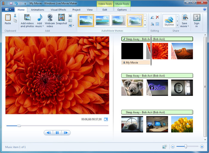 Windows Live Movie Maker supported video format