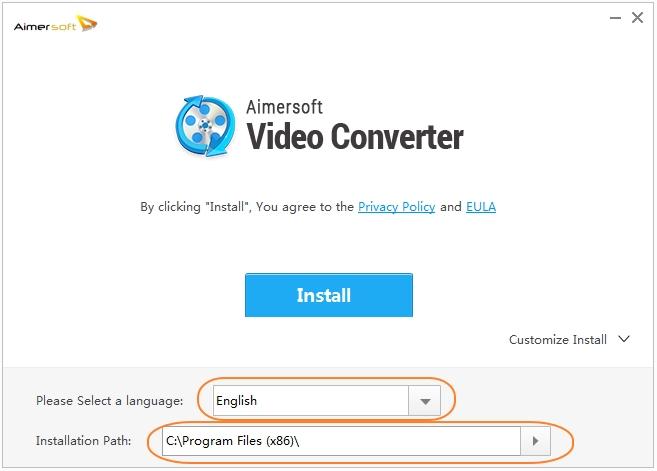 install aimersoft video converter step 2