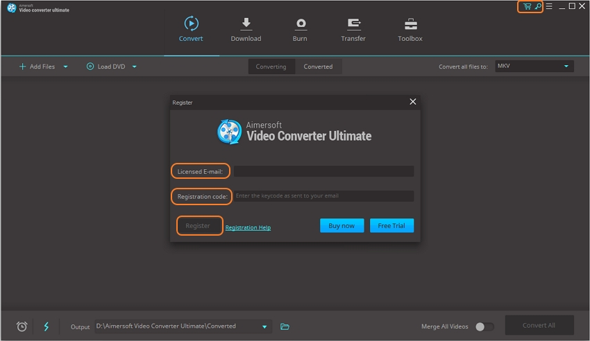 register aimersoft video converter step 2
