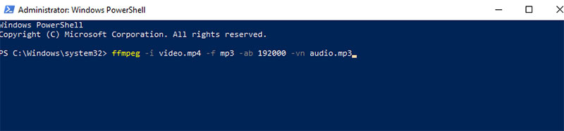 convert mp4 to mp3 in ffmpeg