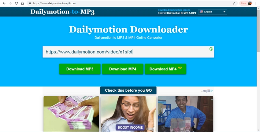 Convert Dailymotion to MP4 Online
