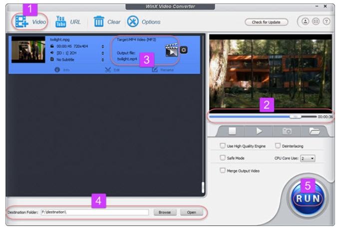 Convert MPG to MP4  using WinX Video Converter