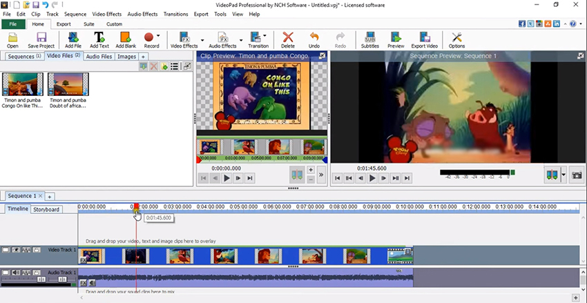 Convert VPJ to MP4 with VideoPad Video Editor step 1