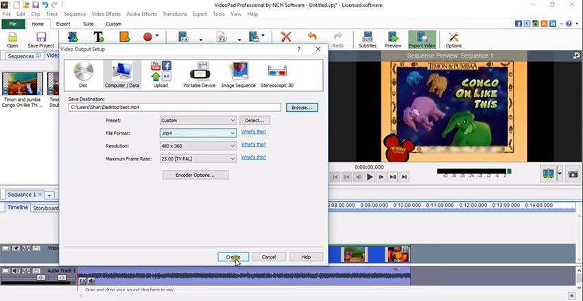 Convert VPJ to MP4 with VideoPad Video Editor step 3