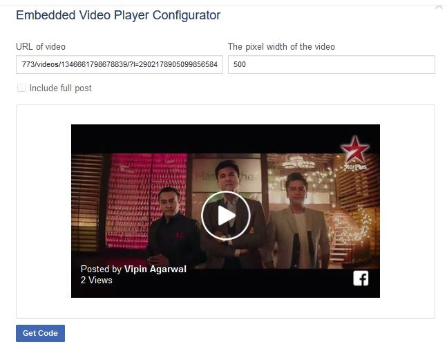 Embed Facebook Video - Click Get Code Button