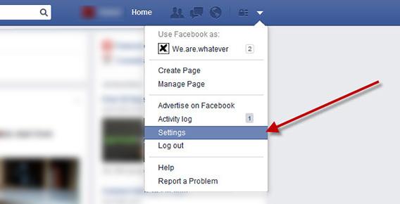 Disable Facebook Autoplay - Select Settings in Drop-Down Menu