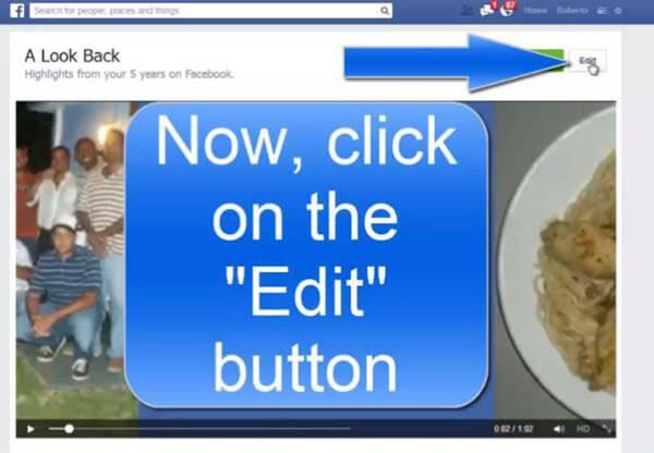 Edit Facebook Video - Select Edit