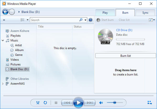 Burn Facebook Videos to DVD - Insert Blank DVD and Start Windows Media Player
