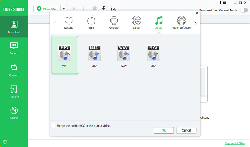 Convert Instagram to MP3 - Choose MP3 as Output