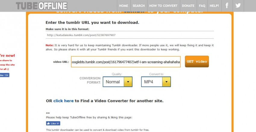 All Ways to Download Videos from Tumblr - Click Get Video Button