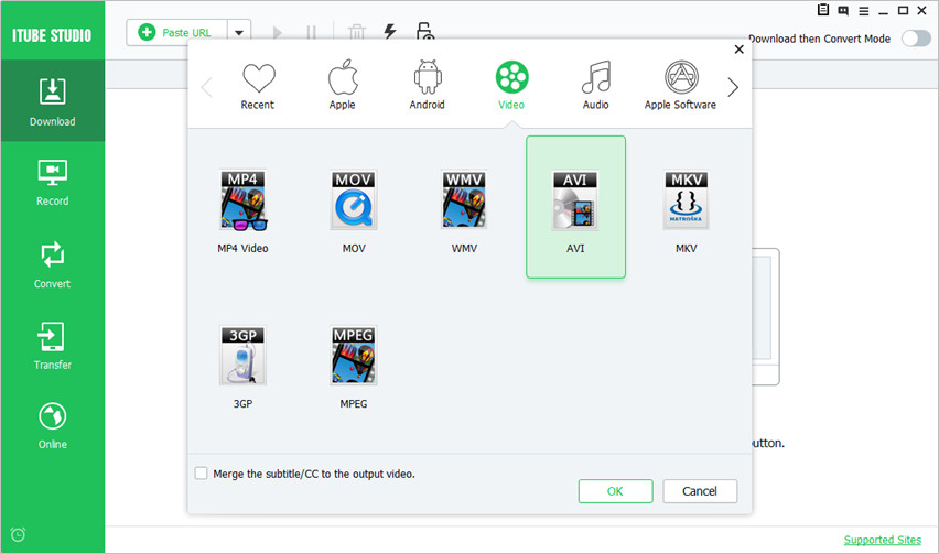 Download Movies in AVI - Turn on Download then Convert Mode